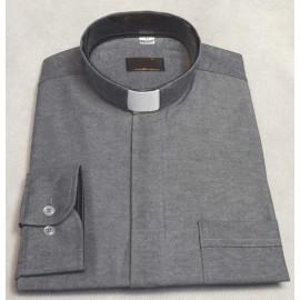 Clergy shirt - grey, black insert