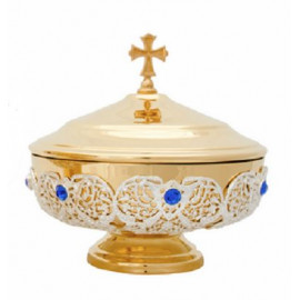 Decorated, brass, gold plated paten - 14 cm
