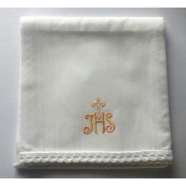 Corporal - embroidered gold IHS, cross - 100% cotton