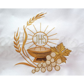 Altar Tablecloth IHS, grapes, ears of grain - golden embroidery
