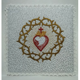 Chalice Pall - Sacred Heart Of Jesus With Crown of Thorns