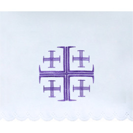 Altar Tablecloth Jerusalem cross (4) - violet embroidery