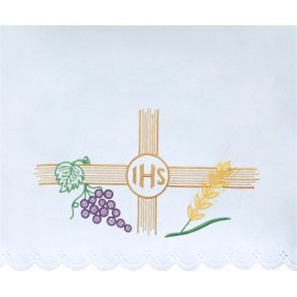 Altar Tablecloth embroidered IHS (10)