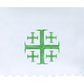 Altar Tablecloth Jerusalem cross (12) - green embroidery