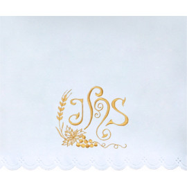 Altar Tablecloth IHS, grapes, ears of grain - golden embroidery (26)