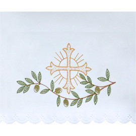 Altar Tablecloth embroidered cross and twig (9)