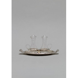 Brass tray, nickel plated with ampoules
