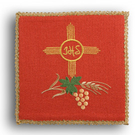 Chalice pall cross, IHS red (27)