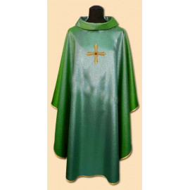Green chasuble, shiny, embroidery on fabric (2)