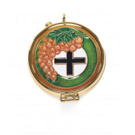 Pyx with enamel plaque - grape and cross