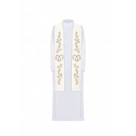 Marian embroidered stole - white (32)