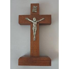 Standing wooden cross dark brown 10x5 cm