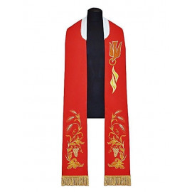 Embroidered red stole for confirmation