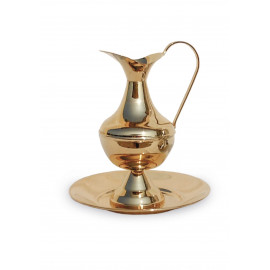 Pitcher with bowl, polished, gilded - 19 cm (2)