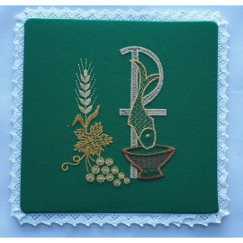 Embroidered green pall - P, fish (11)