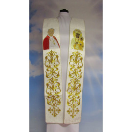 Embroidered stole John Paul II and Our Lady of Czestochowa