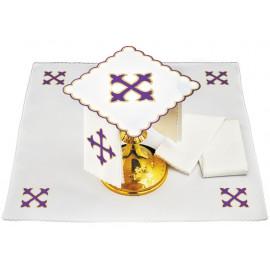 Chalice linen purple cross - embroidery