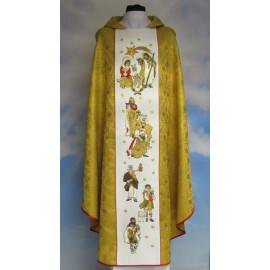 Chasuble rosette gold Christmas - Holy Family (4)