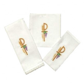 Chalice Linen Sets - embroidered colour P and ears of grain (32)