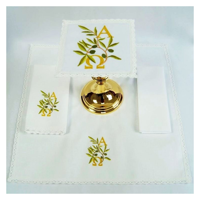 Chalice Linen Sets - Alpha and Omega and olive branches (36)