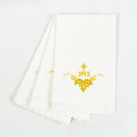 Purificator embroidered gold IHS - 100% cotton