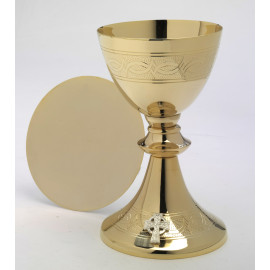 Chalice + Paten, gold-plated, cross - 20 cm (12)