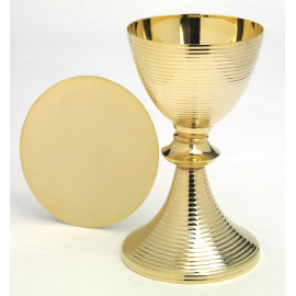 Gilded cup with stripes + paten - 21 cm (24)