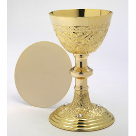 Chalice with precious stones + paten, gold plated - 22 cm (35)