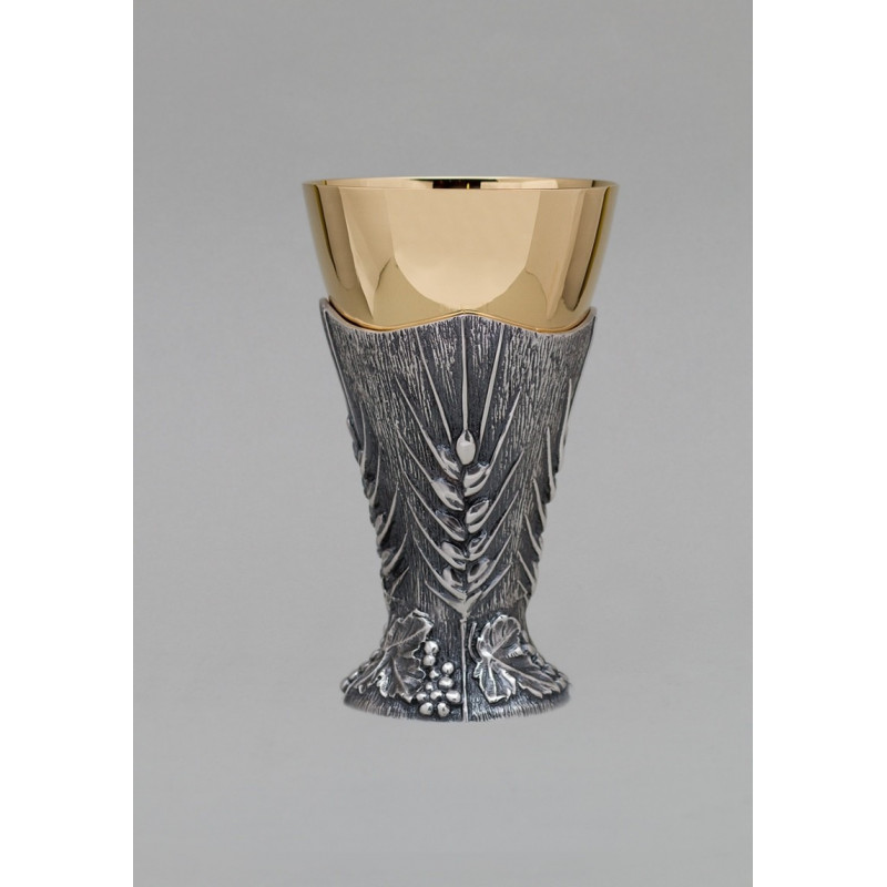 Gilded brass chalice - silver ear - 17 cm (60)