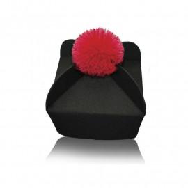 3 or 4 wing biretta (black with red / purple pom pom)