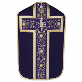 Roman chasuble - damask fabric IHS (43)