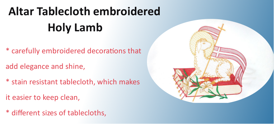 Altar Tablecloth embroidered Holy Lamb